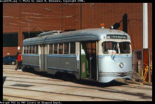 (44k, 538x363)<br><b>Country:</b> United States<br><b>City:</b> Philadelphia, PA<br><b>System:</b> SEPTA (or Predecessor)<br><b>Location:</b> Elmwood Depot <br><b>Car:</b> PTC/SEPTA Pre-war Air-car PCC (St.Louis, 1941)  2054 <br><b>Photo by:</b> Jason R. DeCesare<br><b>Notes:</b> PRT livery<br><b>Viewed (this week/total):</b> 8 / 16908