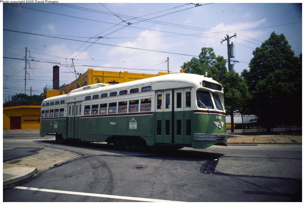 (176k, 1044x700)<br><b>Country:</b> United States<br><b>City:</b> Philadelphia, PA<br><b>System:</b> SEPTA (or Predecessor)<br><b>Line:</b> Rt. 10-Overbrook<br><b>Location:</b> Lansdowne/54th Loop <br><b>Route:</b> Fan Trip<br><b>Car:</b> PTC/SEPTA Postwar All-electric PCC (St.Louis, 1948)  2168 <br><b>Photo by:</b> David Pirmann<br><b>Date:</b> 7/4/1999<br><b>Notes:</b> Fantrip<br><b>Viewed (this week/total):</b> 1 / 1946