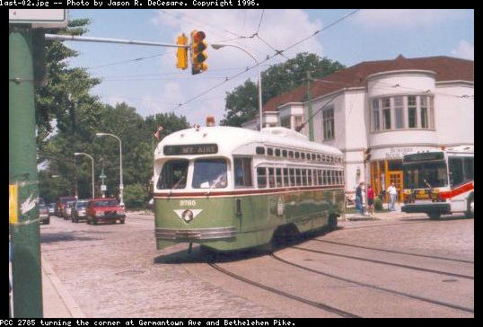 (44k, 538x364)<br><b>Country:</b> United States<br><b>City:</b> Philadelphia, PA<br><b>System:</b> SEPTA (or Predecessor)<br><b>Line:</b> Rt. 23-Germantown <br><b>Location:</b> Germantown/Bethlehem <br><b>Car:</b> PTC/SEPTA Postwar All-electric PCC (St.Louis, 1947)  2785 <br><b>Photo by:</b> Jason R. DeCesare<br><b>Viewed (this week/total):</b> 1 / 2279