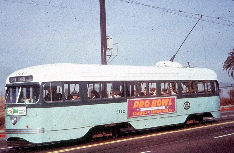 (153k, 800x524)<br><b>Country:</b> United States<br><b>City:</b> Los Angeles, CA<br><b>System:</b> LARY/LATL/PE/LAMTA <br><b>Car:</b> PCC  3112 <br><b>Photo by:</b> <a href=http://www.tramway.com/>www.tramway.com</a><br><b>Collection of:</b> Joe Testagrose<br><b>Date:</b> 1959<br><b>Notes:</b> Rt R at Boyle Av & 7 St<br><b>Viewed (this week/total):</b> 6 / 1364