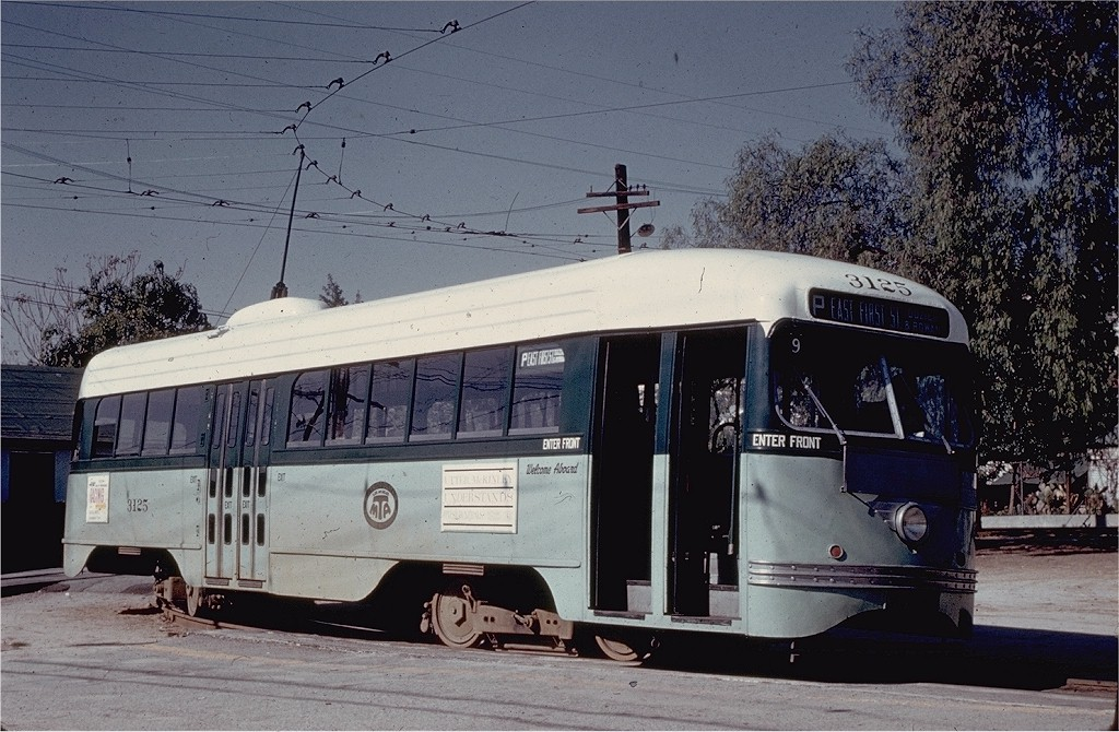 (221k, 1024x670)<br><b>Country:</b> United States<br><b>City:</b> Los Angeles, CA<br><b>System:</b> LARY/LATL/PE/LAMTA <br><b>Car:</b> PCC  3125 <br><b>Collection of:</b> Joe Testagrose<br><b>Date:</b> 1/30/1961<br><b>Notes:</b> Rt P at Rowan & Brooklyn<br><b>Viewed (this week/total):</b> 0 / 1470