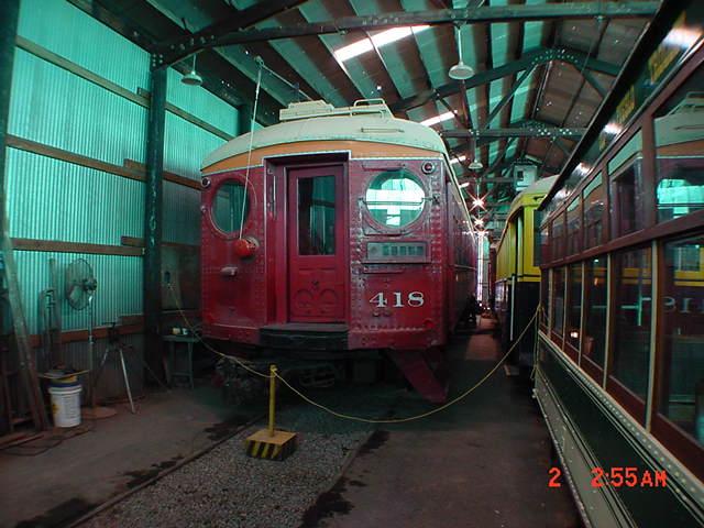 (60k, 640x480)<br><b>Country:</b> United States<br><b>City:</b> Perris, CA<br><b>System:</b> Orange Empire Railway Museum <br><b>Car:</b> Pacific Electric Blimp Interurban (Pullman, 1913)  418 <br><b>Photo by:</b> Salaam Allah<br><b>Date:</b> 10/1/2000<br><b>Viewed (this week/total):</b> 0 / 1780