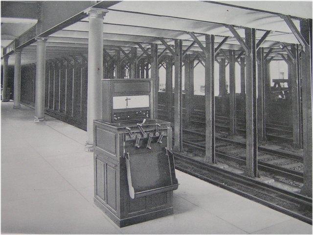 (68k, 640x480)<br><b>Country:</b> United States<br><b>City:</b> New York<br><b>System:</b> New York City Transit<br><b>Location:</b> Interborough Subway<br><b>Photo by:</b> IRT Company<br><b>Date:</b> 1904<br><b>Notes:</b> Electro-Pneumatic Interlocking Machine on Station Platform<br><b>Viewed (this week/total):</b> 0 / 6437