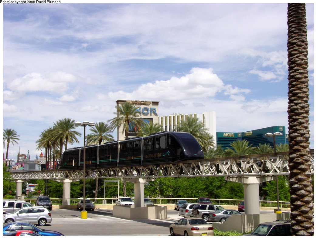(230k, 1044x788)<br><b>Country:</b> United States<br><b>City:</b> Las Vegas, NV<br><b>System:</b> Mandalay Bay / Luxor / Excalibur Tram<br><b>Location:</b> Between Luxor & Excalibur<br><b>Photo by:</b> David Pirmann<br><b>Date:</b> 4/23/2005<br><b>Notes:</b> Shuttle monorail.<br><b>Viewed (this week/total):</b> 1 / 2244