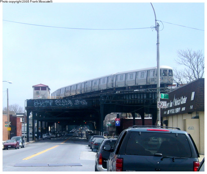 (99k, 820x690)<br><b>Country:</b> United States<br><b>City:</b> New York<br><b>System:</b> New York City Transit<br><b>Line:</b> IND Fulton Street Line<br><b>Location:</b> 80th Street/Hudson Street <br><b>Route:</b> A<br><b>Car:</b> R-44 (St. Louis, 1971-73)  <br><b>Photo by:</b> Frank Moscatelli<br><b>Date:</b> 4/7/2005<br><b>Notes:</b> View from Liberty Ave and 75th St. looking east at stub end of former Fulton El.<br><b>Viewed (this week/total):</b> 5 / 6984