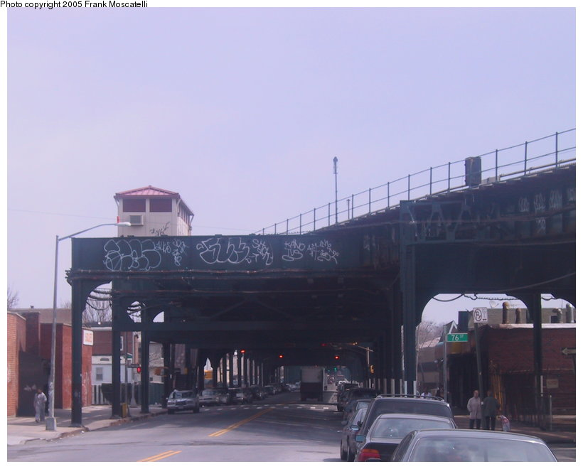 (74k, 820x660)<br><b>Country:</b> United States<br><b>City:</b> New York<br><b>System:</b> New York City Transit<br><b>Line:</b> IND Fulton Street Line<br><b>Location:</b> 80th Street/Hudson Street <br><b>Photo by:</b> Frank Moscatelli<br><b>Date:</b> 4/7/2005<br><b>Notes:</b> View from Liberty Ave and 75th St. looking east at stub end of former Fulton El.<br><b>Viewed (this week/total):</b> 2 / 3715