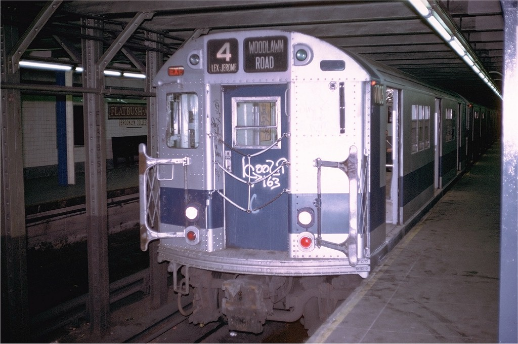 (193k, 1024x679)<br><b>Country:</b> United States<br><b>City:</b> New York<br><b>System:</b> New York City Transit<br><b>Line:</b> IRT Brooklyn Line<br><b>Location:</b> Flatbush Avenue <br><b>Route:</b> 4<br><b>Car:</b> R-22 (St. Louis, 1957-58) 7703 <br><b>Photo by:</b> Doug Grotjahn<br><b>Collection of:</b> Joe Testagrose<br><b>Date:</b> 8/6/1972<br><b>Viewed (this week/total):</b> 1 / 3774