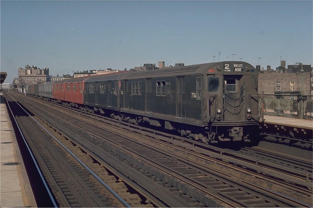 (193k, 1024x682)<br><b>Country:</b> United States<br><b>City:</b> New York<br><b>System:</b> New York City Transit<br><b>Line:</b> IRT White Plains Road Line<br><b>Location:</b> Intervale Avenue <br><b>Route:</b> 2<br><b>Car:</b> R-22 (St. Louis, 1957-58) 7714 <br><b>Photo by:</b> Joe Testagrose<br><b>Date:</b> 5/30/1970<br><b>Viewed (this week/total):</b> 0 / 2640