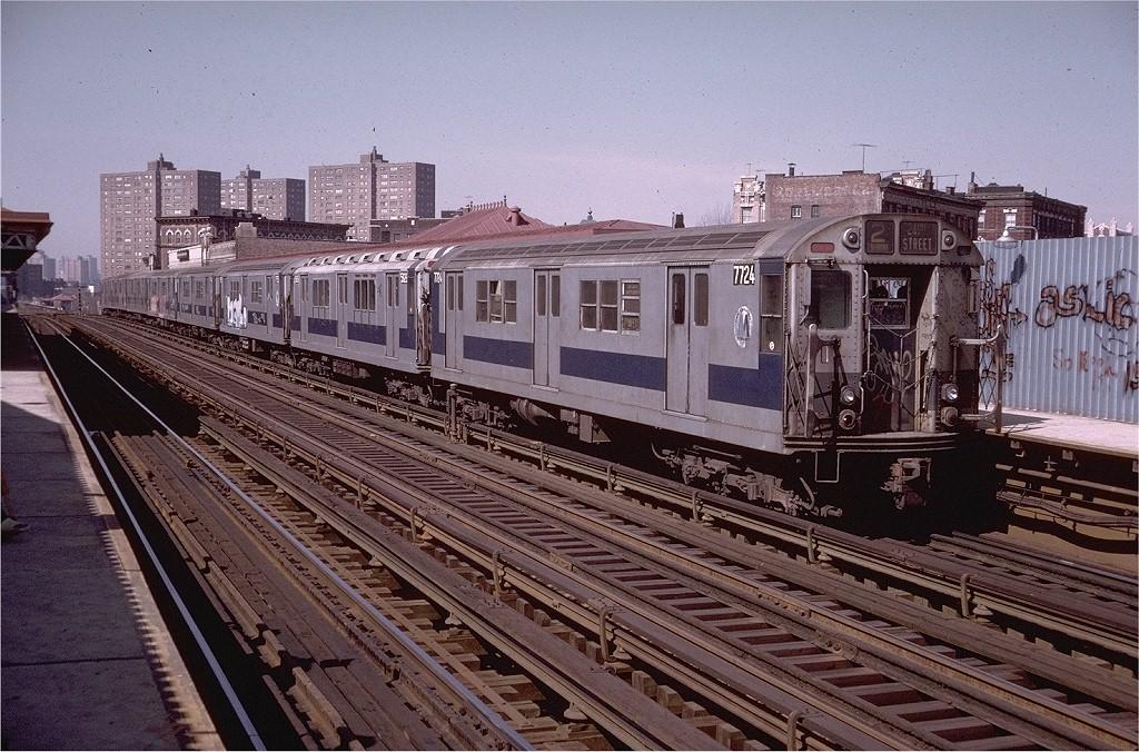 (260k, 1024x676)<br><b>Country:</b> United States<br><b>City:</b> New York<br><b>System:</b> New York City Transit<br><b>Line:</b> IRT White Plains Road Line<br><b>Location:</b> Prospect Avenue <br><b>Route:</b> 2<br><b>Car:</b> R-22 (St. Louis, 1957-58) 7724 <br><b>Photo by:</b> Doug Grotjahn<br><b>Collection of:</b> Joe Testagrose<br><b>Date:</b> 4/21/1974<br><b>Viewed (this week/total):</b> 0 / 3266