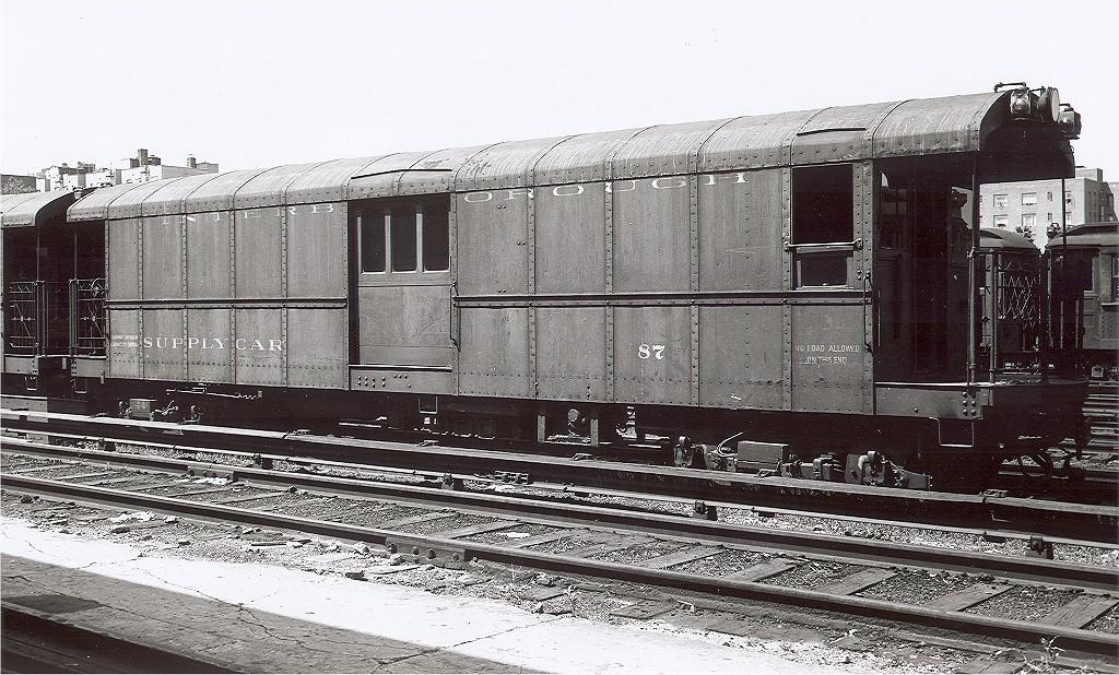(256k, 1024x618)<br><b>Country:</b> United States<br><b>City:</b> New York<br><b>System:</b> New York City Transit<br><b>Car:</b> IRT Supply Car (Pressed Steel, 1906)  87 <br><b>Collection of:</b> Joe Testagrose<br><b>Viewed (this week/total):</b> 2 / 2425