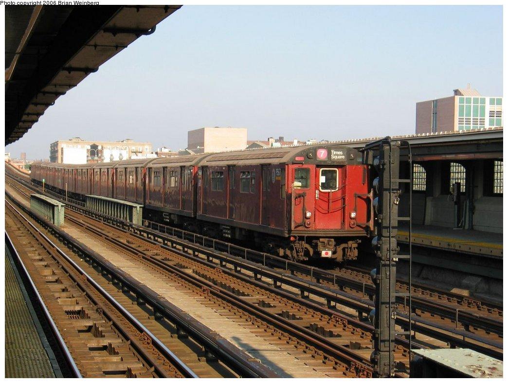 (175k, 1044x788)<br><b>Country:</b> United States<br><b>City:</b> New York<br><b>System:</b> New York City Transit<br><b>Line:</b> IRT Flushing Line<br><b>Location:</b> 33rd Street/Rawson Street <br><b>Route:</b> 7<br><b>Car:</b> R-36 World's Fair (St. Louis, 1963-64) 9567 <br><b>Photo by:</b> Brian Weinberg<br><b>Date:</b> 7/15/2003<br><b>Viewed (this week/total):</b> 1 / 2864