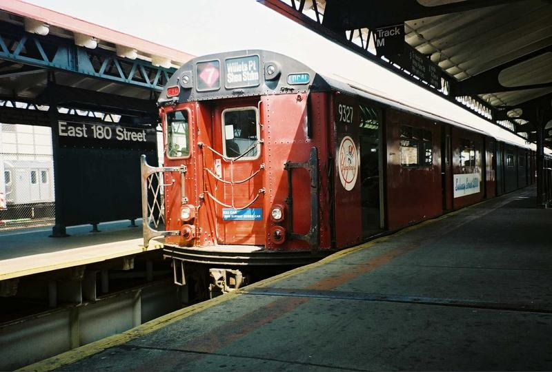 (73k, 800x540)<br><b>Country:</b> United States<br><b>City:</b> New York<br><b>System:</b> New York City Transit<br><b>Line:</b> IRT White Plains Road Line<br><b>Location:</b> East 180th Street <br><b>Route:</b> Fan Trip<br><b>Car:</b> R-33 World's Fair (St. Louis, 1963-64) 9327 <br><b>Photo by:</b> Gary Chatterton<br><b>Date:</b> 5/1/2005<br><b>Viewed (this week/total):</b> 1 / 2684