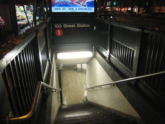 (61k, 640x480)<br><b>Country:</b> United States<br><b>City:</b> New York<br><b>System:</b> New York City Transit<br><b>Line:</b> IRT West Side Line<br><b>Location:</b> 103rd Street <br><b>Photo by:</b> David Blair<br><b>Date:</b> 4/1/2008<br><b>Viewed (this week/total):</b> 1 / 1052