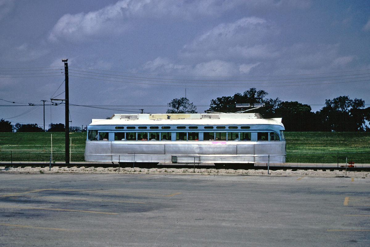 (86k, 1024x690)<br><b>Country:</b> United States<br><b>City:</b> Fort Worth, TX<br><b>System:</b> Tandy Subway<br><b>Photo by:</b> Phil Hom<br><b>Date:</b> 1974<br><b>Notes:</b> Side view of car between station 2 and 3.<br><b>Viewed (this week/total):</b> 1 / 2707