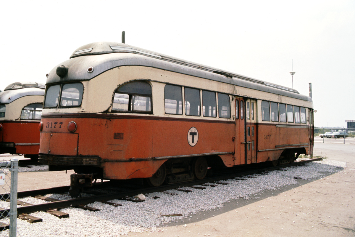 (101k, 1024x690)<br><b>Country:</b> United States<br><b>City:</b> Fort Worth, TX<br><b>System:</b> Tandy Subway<br><b>Car:</b> MBTA/BSRy PCC Wartime (Pullman-Standard, 1945)  3177 <br><b>Photo by:</b> Walt Hoesing<br><b>Collection of:</b> Phil Hom<br><b>Notes:</b> Rear view of MBTA cars.<br><b>Viewed (this week/total):</b> 3 / 4124