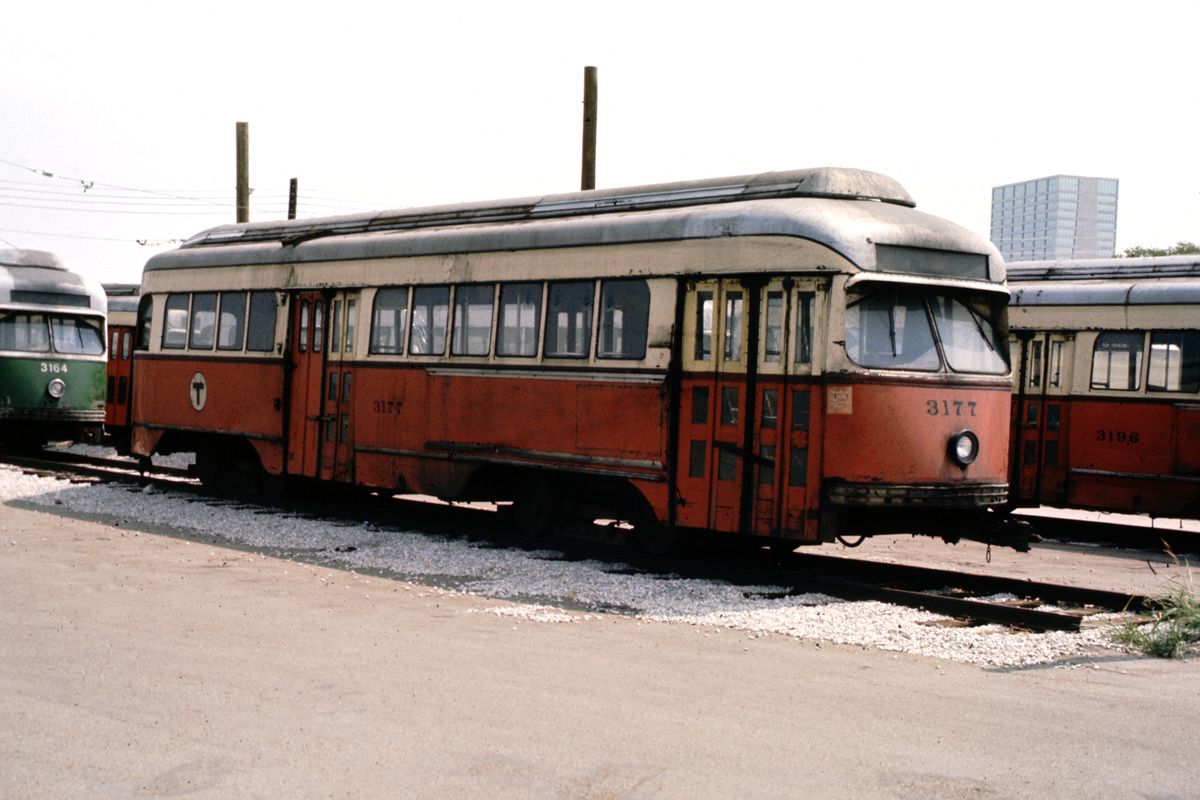 (103k, 1024x690)<br><b>Country:</b> United States<br><b>City:</b> Fort Worth, TX<br><b>System:</b> Tandy Subway<br><b>Car:</b> MBTA/BSRy PCC Wartime (Pullman-Standard, 1945)  3177 <br><b>Photo by:</b> Walt Hoesing<br><b>Collection of:</b> Phil Hom<br><b>Notes:</b> View of MBTA 3177 at Fort Worth.<br><b>Viewed (this week/total):</b> 1 / 4016