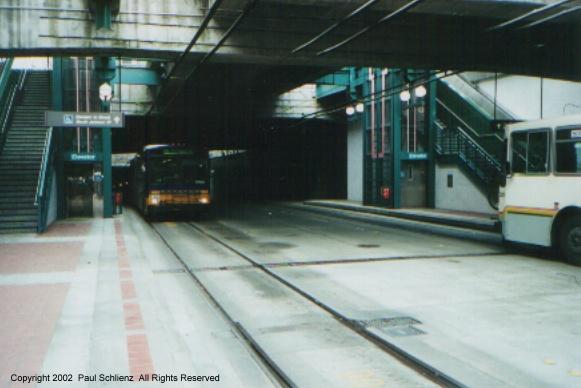 (79k, 581x388)<br><b>Country:</b> United States<br><b>City:</b> Seattle, WA<br><b>System:</b> Metro Transit/King County DOT<br><b>Line:</b> Seattle Metro Tunnel<br><b>Location:</b> International District<br><b>Photo by:</b> Paul Schlienz<br><b>Date:</b> 3/17/2001<br><b>Notes:</b> Breda Dual Mode Articulateds<br><b>Viewed (this week/total):</b> 2 / 3552