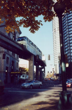 (33k, 278x424)<br><b>Country:</b> United States<br><b>City:</b> Seattle, WA<br><b>System:</b> Seattle Center Monorail<br><b>Location:</b> Westlake Center Station <br><b>Photo by:</b> Paul Schlienz<br><b>Date:</b> 11/22/2000<br><b>Notes:</b> 5th Ave. & Olive Wy., 1/2 block north of Westlake station.<br><b>Viewed (this week/total):</b> 1 / 2426