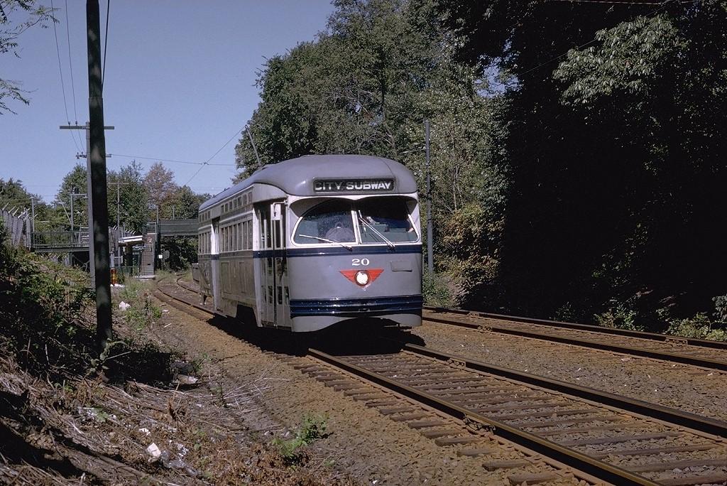 (296k, 1024x684)<br><b>Country:</b> United States<br><b>City:</b> Newark, NJ<br><b>System:</b> Newark City Subway<br><b>Line:</b> 7-City Subway<br><b>Location:</b> Davenport Avenue <br><b>Car:</b> NJTransit/PSCT PCC (Ex-Twin City) (St. Louis Car Co., 1946-1947) 20 <br><b>Photo by:</b> Joe Testagrose<br><b>Date:</b> 9/21/1969<br><b>Viewed (this week/total):</b> 0 / 2918