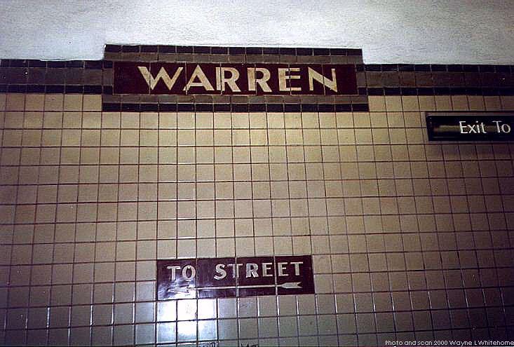 (72k, 733x495)<br><b>Country:</b> United States<br><b>City:</b> Newark, NJ<br><b>System:</b> Newark City Subway<br><b>Line:</b> 7-City Subway<br><b>Location:</b> Warren Street <br><b>Photo by:</b> Wayne Whitehorne<br><b>Date:</b> 3/13/2000<br><b>Notes:</b> Mosaic tablet (Warren)<br><b>Viewed (this week/total):</b> 0 / 2192