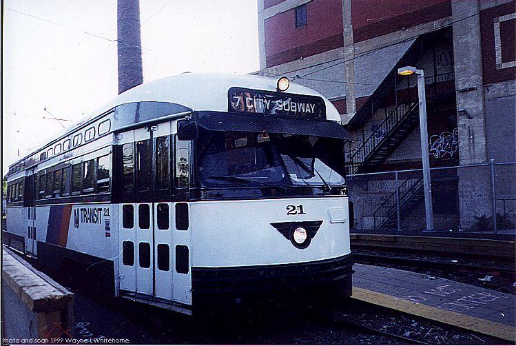 (95k, 749x502)<br><b>Country:</b> United States<br><b>City:</b> Newark, NJ<br><b>System:</b> Newark City Subway<br><b>Line:</b> 7-City Subway<br><b>Location:</b> Orange Street <br><b>Car:</b> NJTransit/PSCT PCC (Ex-Twin City) (St. Louis Car Co., 1946-1947) 21 <br><b>Photo by:</b> Wayne Whitehorne<br><b>Date:</b> 6/4/1999<br><b>Viewed (this week/total):</b> 0 / 3010