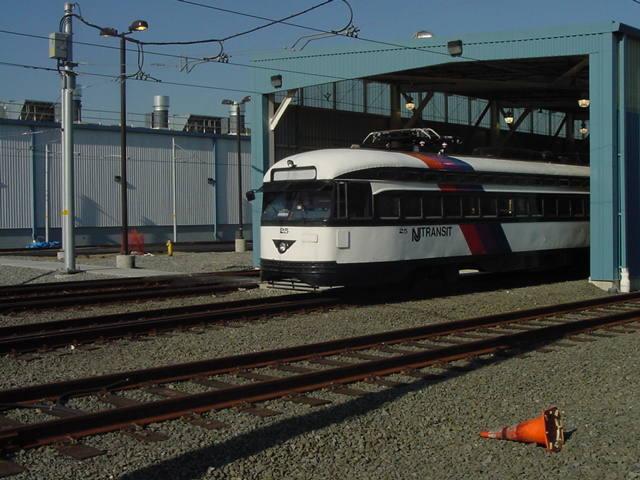 (59k, 640x480)<br><b>Country:</b> United States<br><b>City:</b> Bloomfield, NJ<br><b>System:</b> Newark City Subway<br><b>Line:</b> 7-City Subway<br><b>Location:</b> Shop/Yard <br><b>Car:</b> NJTransit/PSCT PCC (Ex-Twin City) (St. Louis Car Co., 1946-1947) 25 <br><b>Photo by:</b> Daniel C. Boyar<br><b>Date:</b> 4/26/2001<br><b>Viewed (this week/total):</b> 2 / 3278