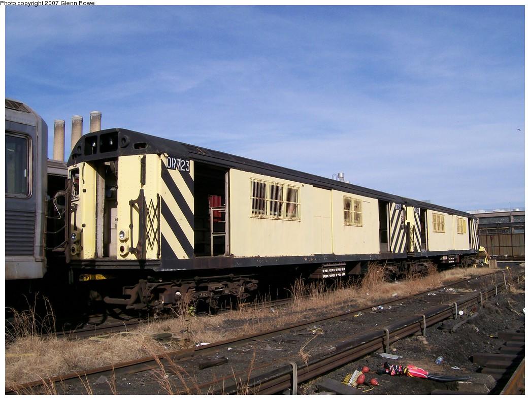 (222k, 1044x788)<br><b>Country:</b> United States<br><b>City:</b> New York<br><b>System:</b> New York City Transit<br><b>Location:</b> 207th Street Yard<br><b>Car:</b> R-95 Revenue Collector 0R723/1R723 (ex-7368/7496)<br><b>Photo by:</b> Glenn L. Rowe<br><b>Date:</b> 11/28/2007<br><b>Viewed (this week/total):</b> 1 / 1884