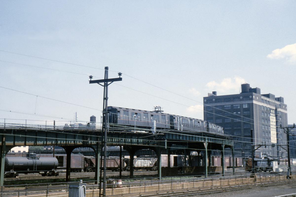 (378k, 1044x711)<br><b>Country:</b> United States<br><b>City:</b> New York<br><b>System:</b> New York City Transit<br><b>Line:</b> IRT Flushing Line<br><b>Location:</b> Viaduct approach east of Hunterspoint Ave. <br><b>Route:</b> 7<br><b>Car:</b> R-14 (American Car & Foundry, 1949) 5900 <br><b>Collection of:</b> David Pirmann<br><b>Date:</b> 5/19/1963<br><b>Viewed (this week/total):</b> 4 / 5507
