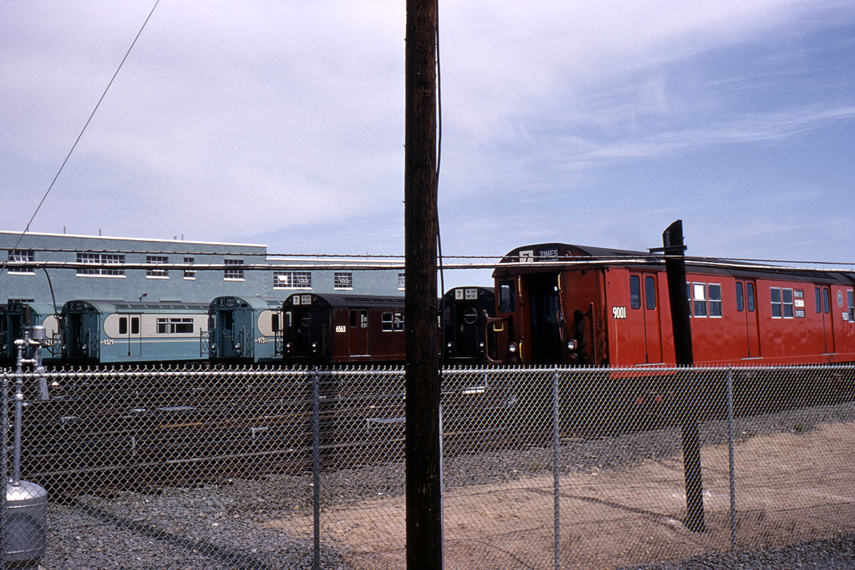 (497k, 1044x712)<br><b>Country:</b> United States<br><b>City:</b> New York<br><b>System:</b> New York City Transit<br><b>Location:</b> Corona Yard<br><b>Car:</b> R-33 Main Line (St. Louis, 1962-63) 9001 <br><b>Collection of:</b> David Pirmann<br><b>Date:</b> 5/4/1964<br><b>Notes:</b> With 9329, 9731, 6563<br><b>Viewed (this week/total):</b> 0 / 3166