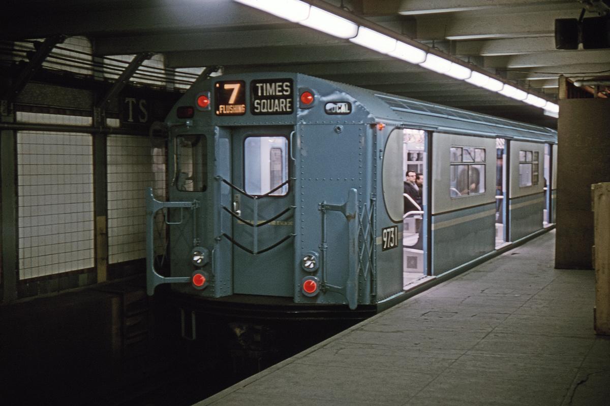 (263k, 1024x683)<br><b>Country:</b> United States<br><b>City:</b> New York<br><b>System:</b> New York City Transit<br><b>Line:</b> IRT Flushing Line<br><b>Location:</b> Times Square <br><b>Route:</b> 7<br><b>Car:</b> R-36 World's Fair (St. Louis, 1963-64) 9731 <br><b>Collection of:</b> David Pirmann<br><b>Date:</b> 3/29/1964<br><b>Viewed (this week/total):</b> 4 / 5931
