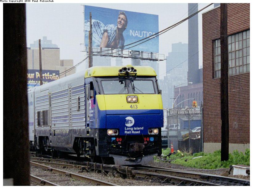 (109k, 820x614)<br><b>Country:</b> United States<br><b>City:</b> New York<br><b>System:</b> Long Island Rail Road<br><b>Line:</b> LIRR Long Island City<br><b>Location:</b> Long Island City <br><b>Car:</b> LIRR GM DE30AC (Diesel)  413 <br><b>Photo by:</b> Paul Polischuk<br><b>Date:</b> 5/2000<br><b>Viewed (this week/total):</b> 0 / 3518