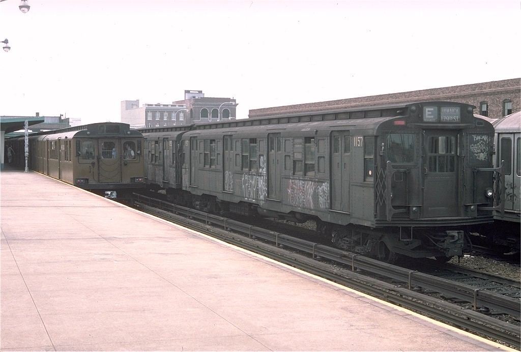 (167k, 1024x692)<br><b>Country:</b> United States<br><b>City:</b> New York<br><b>System:</b> New York City Transit<br><b>Location:</b> Rockaway Park Yard<br><b>Car:</b> R-6-2 (Pullman, 1936)  1157 <br><b>Photo by:</b> Doug Grotjahn<br><b>Collection of:</b> Joe Testagrose<br><b>Date:</b> 7/31/1976<br><b>Viewed (this week/total):</b> 2 / 4549