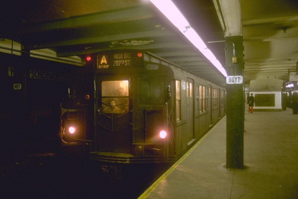 (141k, 1024x683)<br><b>Country:</b> United States<br><b>City:</b> New York<br><b>System:</b> New York City Transit<br><b>Line:</b> IND Fulton Street Line<br><b>Location:</b> Hoyt-Schermerhorn Street <br><b>Route:</b> A<br><b>Car:</b> R-6-2 (Pullman, 1936)  1160 <br><b>Photo by:</b> Joe Testagrose<br><b>Date:</b> 2/8/1970<br><b>Viewed (this week/total):</b> 1 / 6150