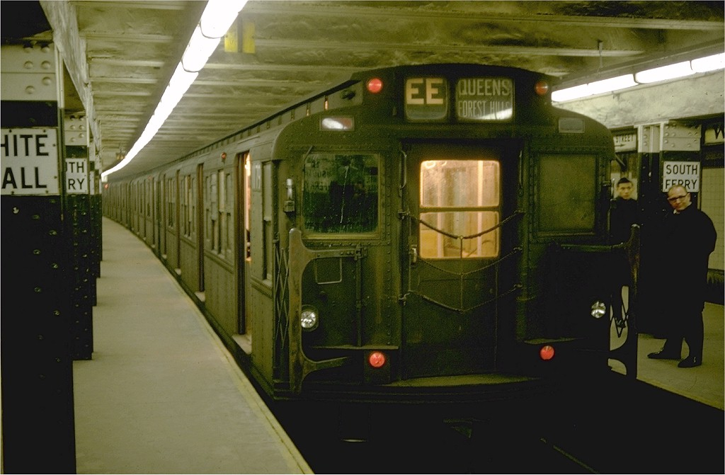 (152k, 1024x671)<br><b>Country:</b> United States<br><b>City:</b> New York<br><b>System:</b> New York City Transit<br><b>Line:</b> BMT Broadway Line<br><b>Location:</b> Whitehall Street <br><b>Route:</b> EE<br><b>Car:</b> R-6-2 (Pullman, 1936)  1179 <br><b>Photo by:</b> Doug Grotjahn<br><b>Collection of:</b> Joe Testagrose<br><b>Date:</b> 12/24/1968<br><b>Viewed (this week/total):</b> 0 / 8038