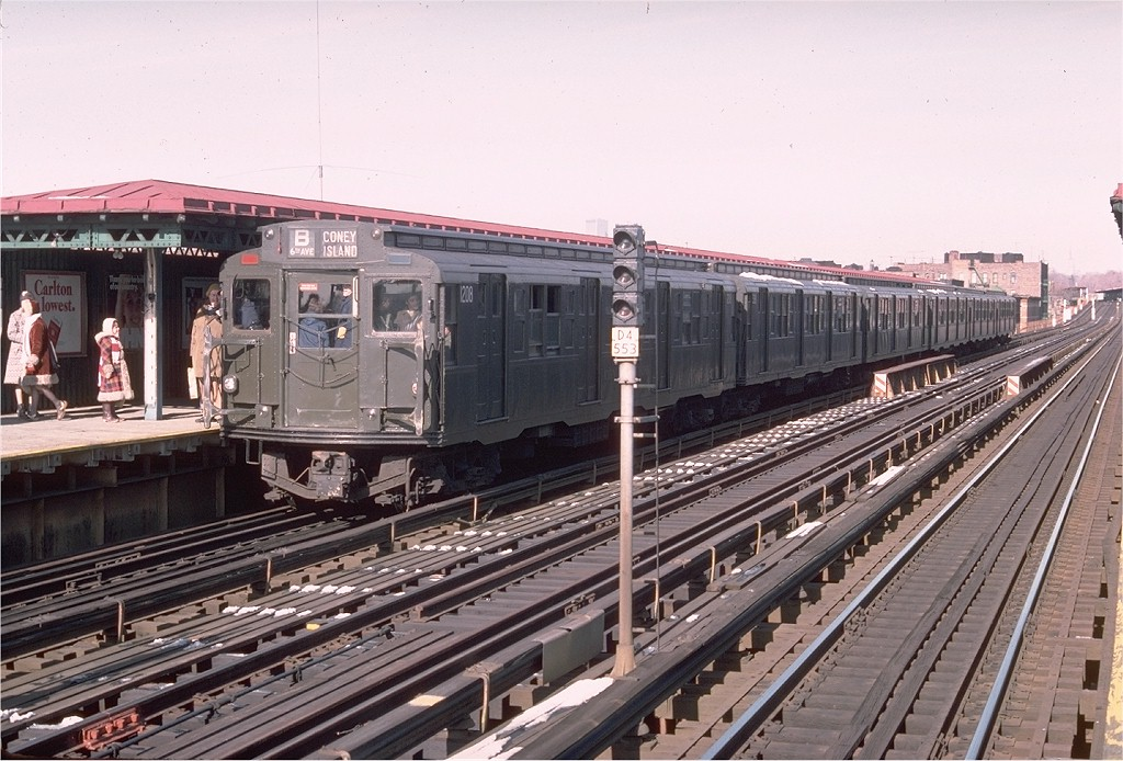 (218k, 1024x694)<br><b>Country:</b> United States<br><b>City:</b> New York<br><b>System:</b> New York City Transit<br><b>Line:</b> BMT West End Line<br><b>Location:</b> 50th Street <br><b>Route:</b> Fan Trip<br><b>Car:</b> R-6-2 (Pullman, 1936)  1208 <br><b>Photo by:</b> Doug Grotjahn<br><b>Collection of:</b> Joe Testagrose<br><b>Date:</b> 1/23/1977<br><b>Viewed (this week/total):</b> 2 / 3263