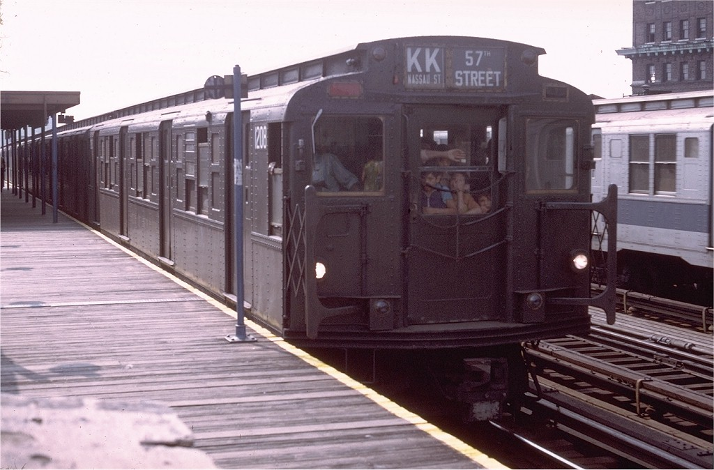 (180k, 1024x674)<br><b>Country:</b> United States<br><b>City:</b> New York<br><b>System:</b> New York City Transit<br><b>Line:</b> BMT Nassau Street/Jamaica Line<br><b>Location:</b> Marcy Avenue <br><b>Route:</b> KK<br><b>Car:</b> R-6-2 (Pullman, 1936)  1208 <br><b>Photo by:</b> Doug Grotjahn<br><b>Collection of:</b> Joe Testagrose<br><b>Date:</b> 7/10/1972<br><b>Viewed (this week/total):</b> 0 / 3357
