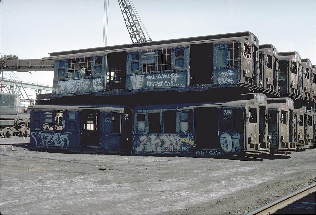 (248k, 1024x697)<br><b>Country:</b> United States<br><b>City:</b> New York<br><b>System:</b> New York City Transit<br><b>Location:</b> Scrapyard<br><b>Car:</b> R-6-2 (Pullman, 1936)  1221 <br><b>Photo by:</b> Ed McKernan<br><b>Collection of:</b> Joe Testagrose<br><b>Date:</b> 5/29/1977<br><b>Viewed (this week/total):</b> 5 / 11880