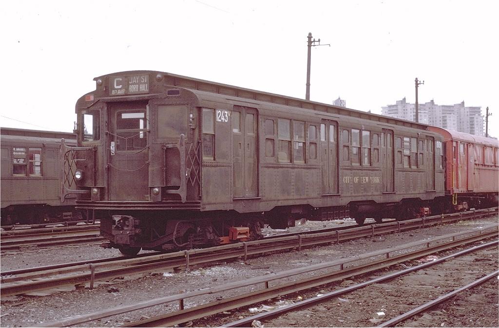(202k, 1024x674)<br><b>Country:</b> United States<br><b>City:</b> New York<br><b>System:</b> New York City Transit<br><b>Location:</b> Coney Island Yard<br><b>Car:</b> R-6-2 (Pullman, 1936)  1243 <br><b>Photo by:</b> Joe Testagrose<br><b>Date:</b> 4/25/1971<br><b>Viewed (this week/total):</b> 0 / 3060