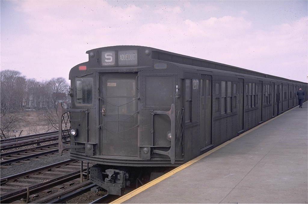 (187k, 1024x677)<br><b>Country:</b> United States<br><b>City:</b> New York<br><b>System:</b> New York City Transit<br><b>Line:</b> IND Rockaway<br><b>Location:</b> Aqueduct Racetrack <br><b>Route:</b> Special<br><b>Car:</b> R-6-2 (Pullman, 1936)  1287 <br><b>Photo by:</b> Doug Grotjahn<br><b>Collection of:</b> Joe Testagrose<br><b>Date:</b> 3/15/1969<br><b>Viewed (this week/total):</b> 0 / 5730
