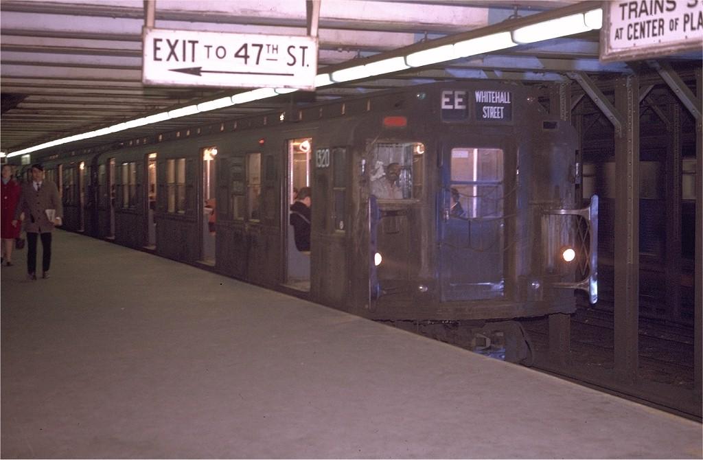 (156k, 1024x670)<br><b>Country:</b> United States<br><b>City:</b> New York<br><b>System:</b> New York City Transit<br><b>Line:</b> BMT Broadway Line<br><b>Location:</b> 49th Street <br><b>Route:</b> EE<br><b>Car:</b> R-6-1 (Pressed Steel, 1936)  1320 <br><b>Photo by:</b> Joe Testagrose<br><b>Date:</b> 4/21/1970<br><b>Viewed (this week/total):</b> 2 / 5454