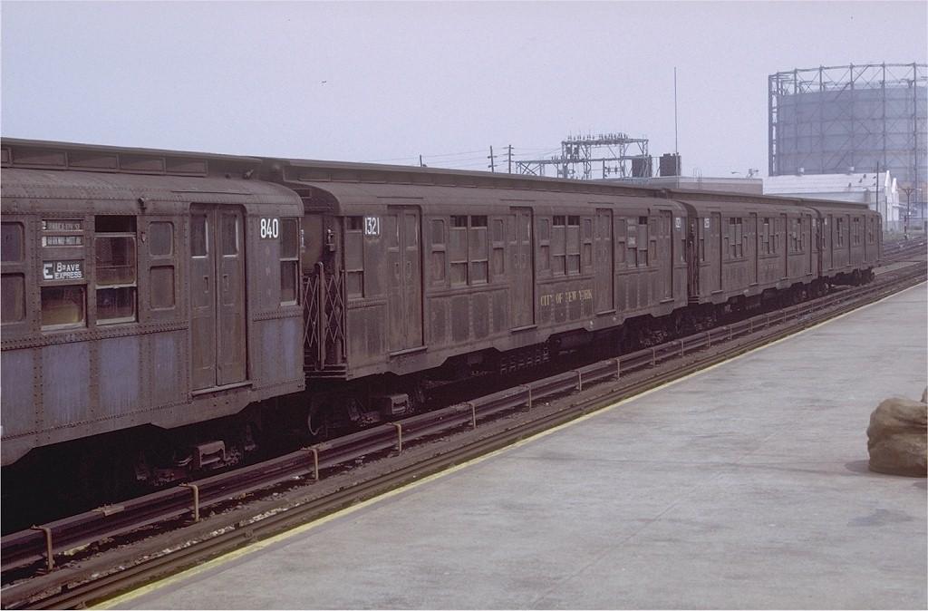 (166k, 1024x674)<br><b>Country:</b> United States<br><b>City:</b> New York<br><b>System:</b> New York City Transit<br><b>Location:</b> Rockaway Park Yard<br><b>Car:</b> R-6-1 (Pressed Steel, 1936)  1321 <br><b>Photo by:</b> Doug Grotjahn<br><b>Collection of:</b> Joe Testagrose<br><b>Date:</b> 8/21/1971<br><b>Viewed (this week/total):</b> 0 / 3137