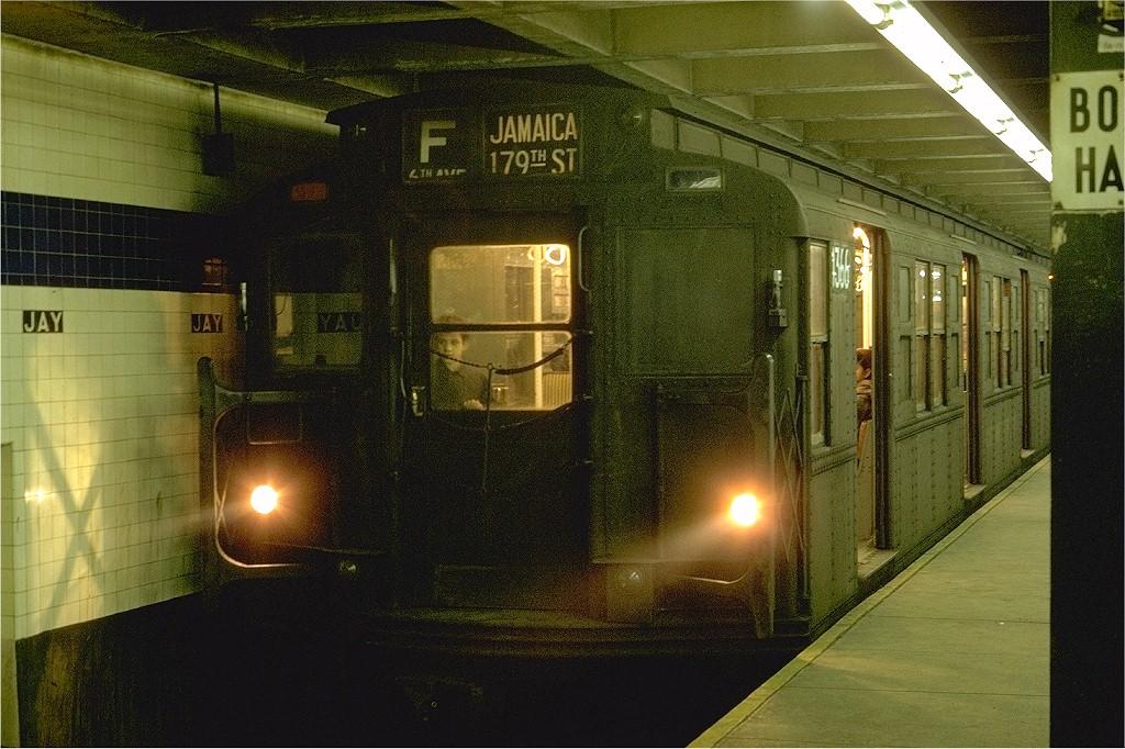 (234k, 1024x682)<br><b>Country:</b> United States<br><b>City:</b> New York<br><b>System:</b> New York City Transit<br><b>Line:</b> IND 8th Avenue Line<br><b>Location:</b> Jay St./Metrotech (Borough Hall)<br><b>Route:</b> F<br><b>Car:</b> R-6-1 (Pressed Steel, 1936) 1366 <br><b>Photo by:</b> Joe Testagrose<br><b>Date:</b> 1/31/1970<br><b>Viewed (this week/total):</b> 2 / 4426