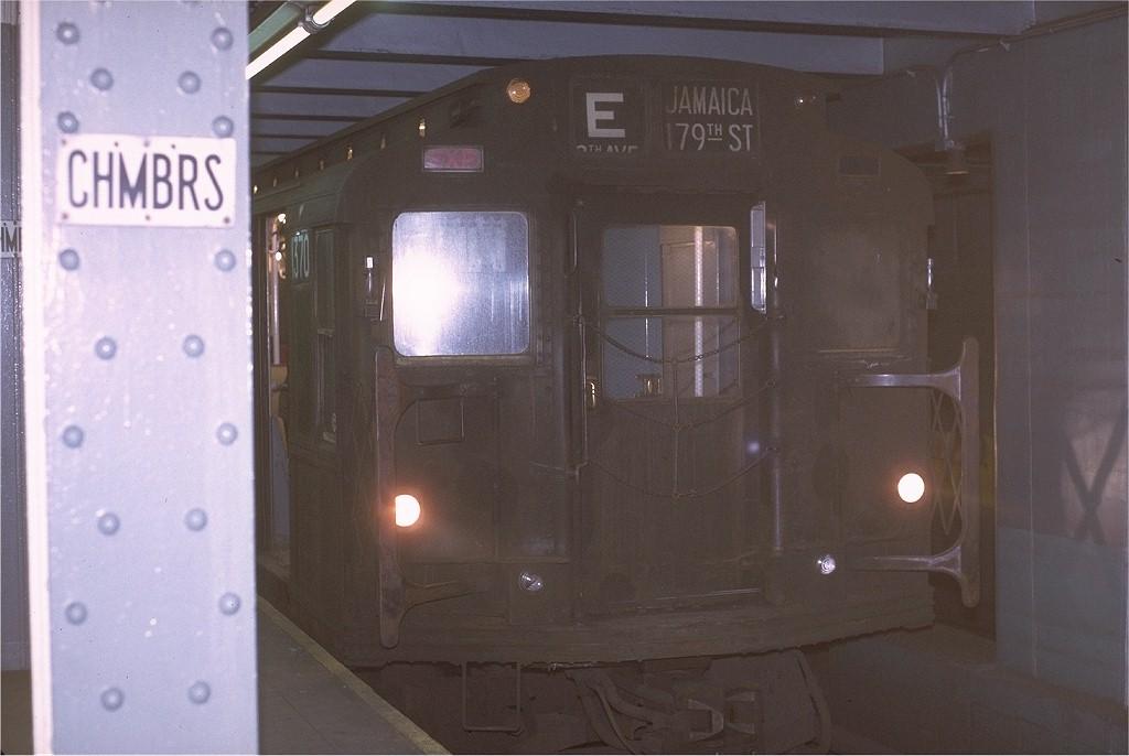 (141k, 1024x686)<br><b>Country:</b> United States<br><b>City:</b> New York<br><b>System:</b> New York City Transit<br><b>Line:</b> IND 8th Avenue Line<br><b>Location:</b> Chambers Street/World Trade Center <br><b>Route:</b> E<br><b>Car:</b> R-6-1 (Pressed Steel, 1936)  1370 <br><b>Photo by:</b> Joe Testagrose<br><b>Date:</b> 11/25/1970<br><b>Viewed (this week/total):</b> 9 / 3409