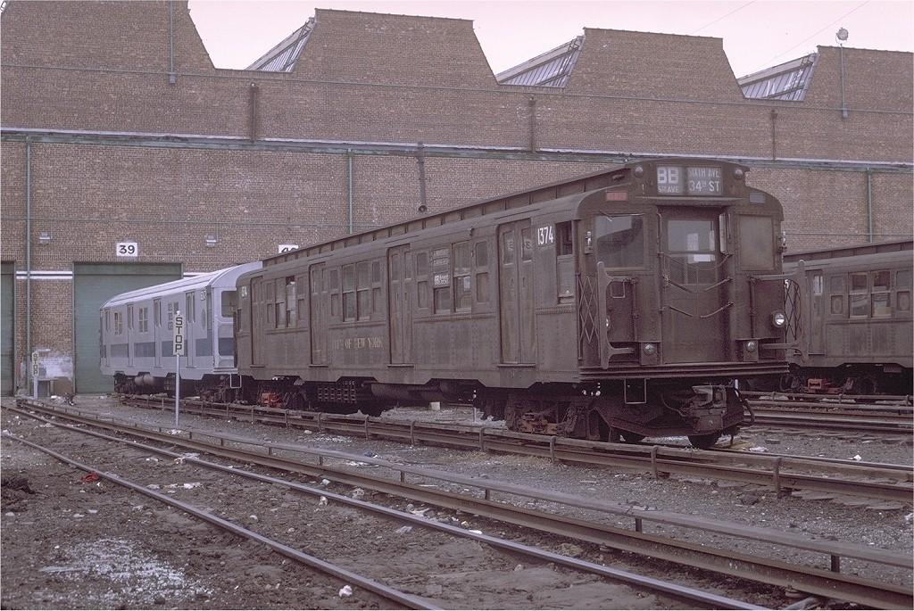 (267k, 1024x685)<br><b>Country:</b> United States<br><b>City:</b> New York<br><b>System:</b> New York City Transit<br><b>Location:</b> Coney Island Yard<br><b>Car:</b> R-6-1 (Pressed Steel, 1936)  1374 <br><b>Photo by:</b> Joe Testagrose<br><b>Date:</b> 4/25/1971<br><b>Viewed (this week/total):</b> 1 / 2776