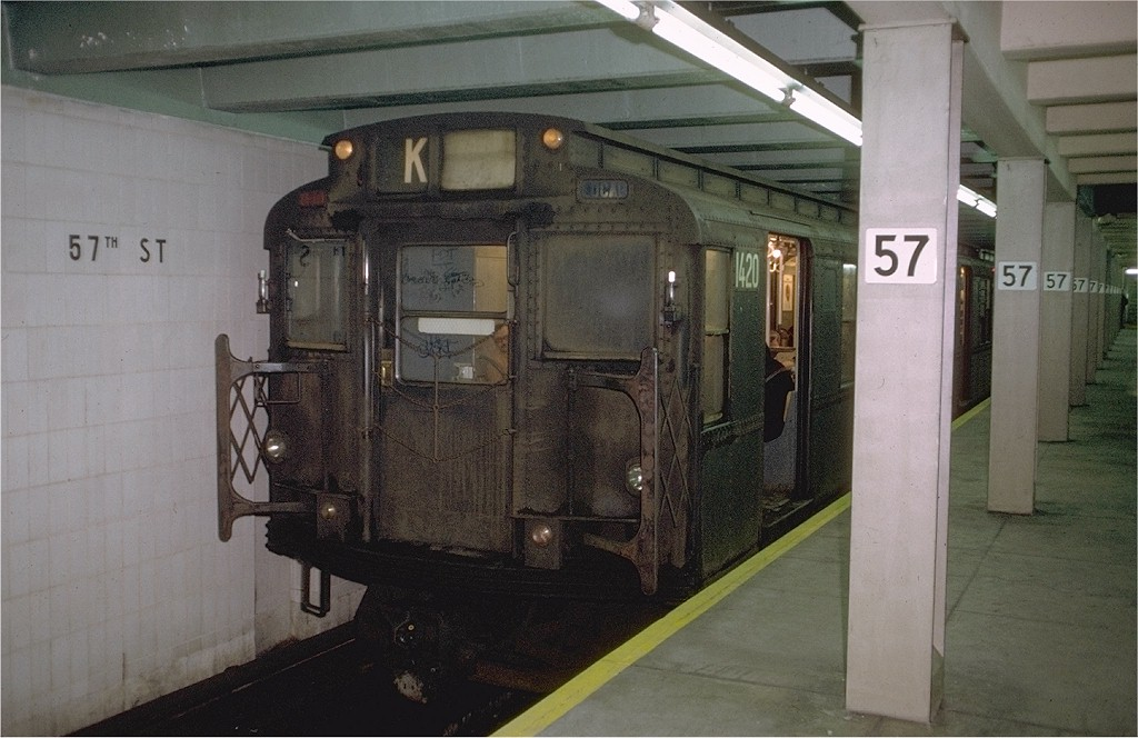 (173k, 1024x664)<br><b>Country:</b> United States<br><b>City:</b> New York<br><b>System:</b> New York City Transit<br><b>Line:</b> IND 6th Avenue Line<br><b>Location:</b> 57th Street <br><b>Route:</b> KK<br><b>Car:</b> R-6-3 (American Car & Foundry, 1935)  1420 <br><b>Photo by:</b> Doug Grotjahn<br><b>Collection of:</b> Joe Testagrose<br><b>Date:</b> 12/22/1972<br><b>Viewed (this week/total):</b> 4 / 4245