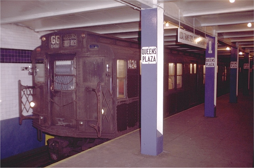 (194k, 1024x679)<br><b>Country:</b> United States<br><b>City:</b> New York<br><b>System:</b> New York City Transit<br><b>Line:</b> IND Queens Boulevard Line<br><b>Location:</b> Queens Plaza <br><b>Route:</b> GG<br><b>Car:</b> R-6-3 (American Car & Foundry, 1935)  1424 <br><b>Photo by:</b> Doug Grotjahn<br><b>Collection of:</b> Joe Testagrose<br><b>Date:</b> 12/4/1971<br><b>Viewed (this week/total):</b> 3 / 4120