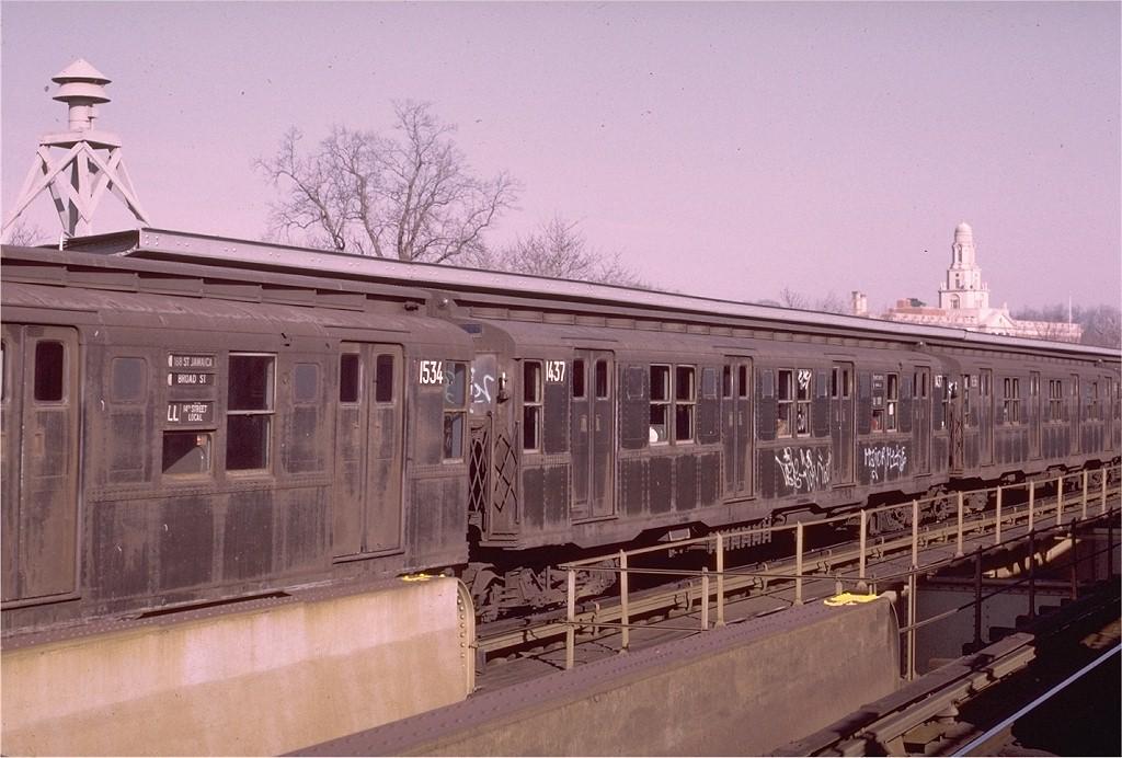 (188k, 1024x692)<br><b>Country:</b> United States<br><b>City:</b> New York<br><b>System:</b> New York City Transit<br><b>Line:</b> BMT Nassau Street/Jamaica Line<br><b>Location:</b> Cypress Hills <br><b>Route:</b> QJ<br><b>Car:</b> R-6-3 (American Car & Foundry, 1935)  1437 <br><b>Photo by:</b> Joe Testagrose<br><b>Date:</b> 12/3/1972<br><b>Viewed (this week/total):</b> 1 / 3276