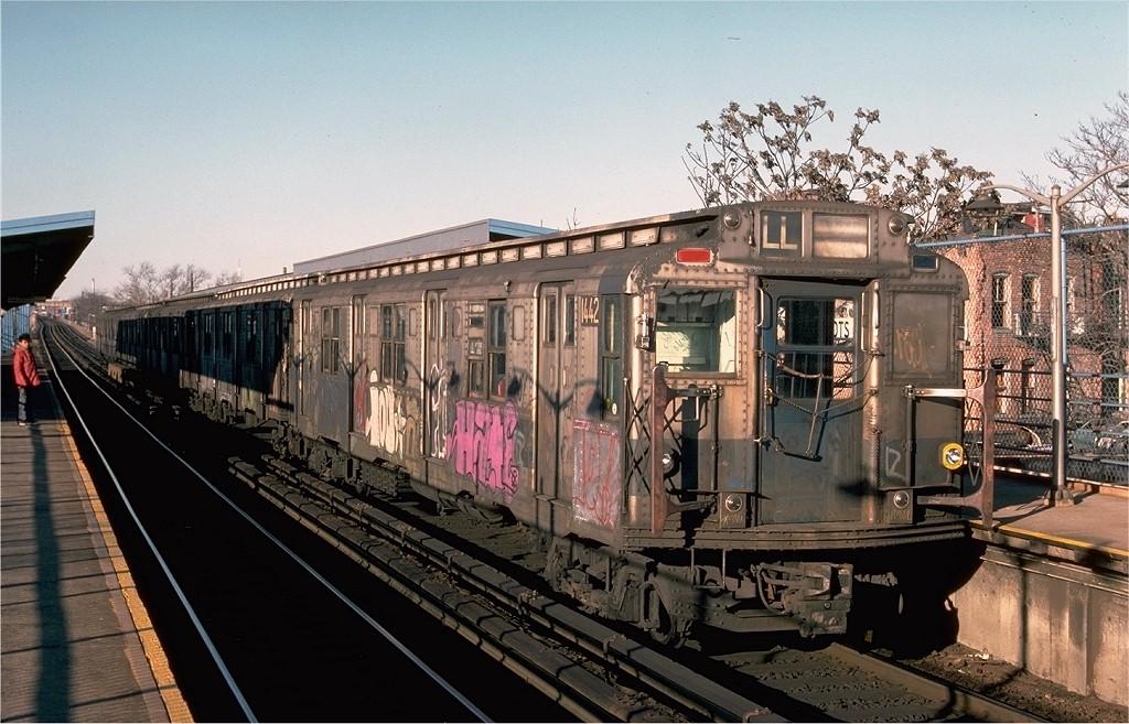 (214k, 1024x657)<br><b>Country:</b> United States<br><b>City:</b> New York<br><b>System:</b> New York City Transit<br><b>Line:</b> BMT Canarsie Line<br><b>Location:</b> New Lots Avenue <br><b>Route:</b> LL<br><b>Car:</b> R-6-3 (American Car & Foundry, 1935)  1442 <br><b>Photo by:</b> Ed McKernan<br><b>Collection of:</b> Joe Testagrose<br><b>Date:</b> 12/24/1976<br><b>Viewed (this week/total):</b> 0 / 5102