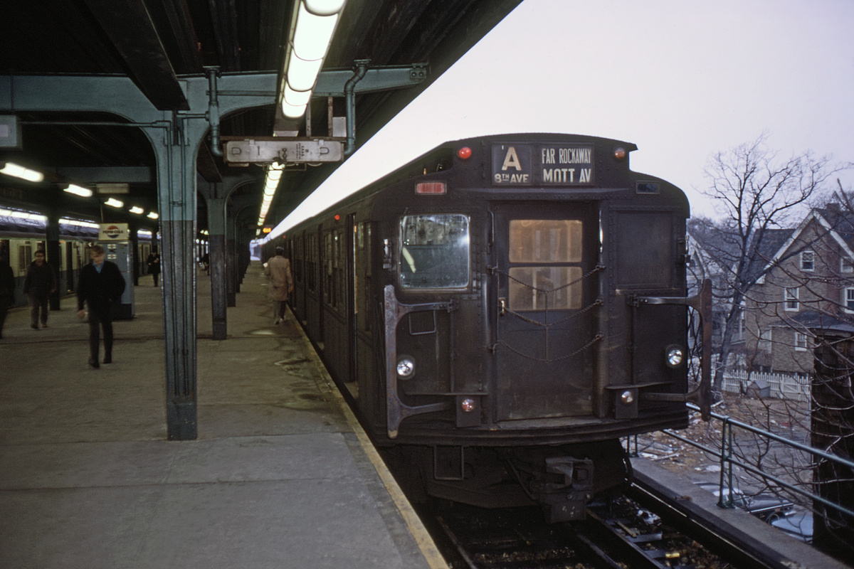 (398k, 1200x800)<br><b>Country:</b> United States<br><b>City:</b> New York<br><b>System:</b> New York City Transit<br><b>Line:</b> IND Rockaway Line<br><b>Location:</b> Mott Avenue/Far Rockaway<br><b>Route:</b> A<br><b>Car:</b> R-6-3 (American Car & Foundry, 1935) 985 <br><b>Collection of:</b> David Pirmann<br><b>Date:</b> 2/1/1969<br><b>Viewed (this week/total):</b> 0 / 5284