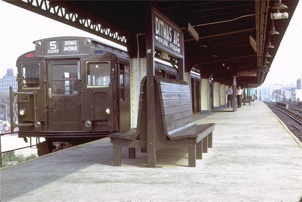 (230k, 1024x686)<br><b>Country:</b> United States<br><b>City:</b> New York<br><b>System:</b> New York City Transit<br><b>Line:</b> BMT Culver Line<br><b>Location:</b> Ditmas Avenue-Shuttle<br><b>Route:</b> Culver Shuttle<br><b>Car:</b> R-7 (American Car & Foundry, 1937)  1440 <br><b>Photo by:</b> Doug Grotjahn<br><b>Collection of:</b> Joe Testagrose<br><b>Date:</b> 9/6/1971<br><b>Viewed (this week/total):</b> 0 / 3922
